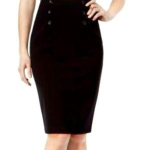 SALE Black High Waisted 'Pinup ' Pencil Skirt (d8)